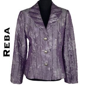 Reba Purple Floral Pleated Blazer Size 6